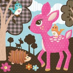 woodland animals wall art