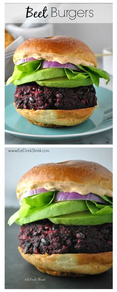 Vegan Beet Burger Recipe with red onion, avocado, and homemade chipotle mayo