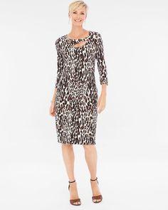 Chico's Women's Travelers Classic Cheetah-Print Dress, Neutral, Size: 4 (20/22 XXL)