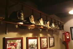 Seeing your hats lying around the house makes a great deal of imaginative ideas rush to the mind. Let's organize your hats with these DIY hat rack ideas. Firefighter Bar, Volunteer Firefighter, Fireman Room, Ladder Display, Hat Display, Fire Helmet, Ultimate Man Cave, Man Cave Home Bar, Room Themes