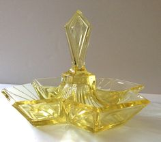 Indiana Pyramid Yellow Glass Relish Dish
