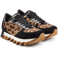 Dolce & Gabbana Animal Print Platform Sneakers (€257) ❤ liked on Polyvore featuring shoes, sneakers, animal print, suede shoes, polka dot sneakers, black trainers, leopard platform sneakers and leopard print shoes