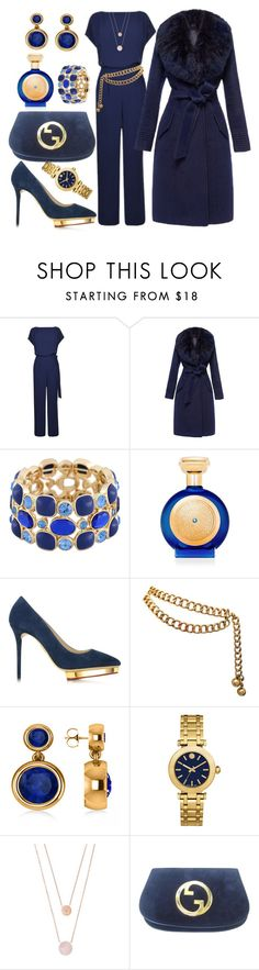 """In the Navy"" by ellenfischerbeauty ❤ liked on Polyvore featuring Diane Von Furstenberg, Monet, Boadicea the Victorious, Charlotte Olympia, Chanel, Allurez, Tory Burch, Michael Kors and Gucci"