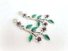 Branches earrings twigs and flowers post by MalinaCapricciosa, $10.00
