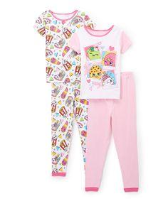 Take a look at this Shopkins™ Light Pink Four-Piece Pajama Set - Toddler & Girls today!