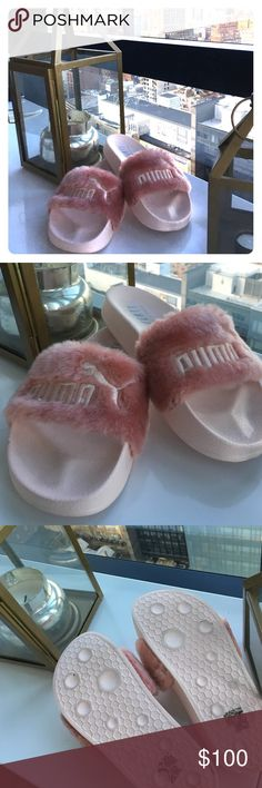 Pink Puma Fur Slides so 5.5- Fenty by Rihanna 100% authentic light pink puma fur slides in 5.5. Worn 2-3 in house, never outside. Perfect condition. No trades. Final price. Puma Shoes Sandals