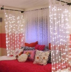 ZSTBT Linkable Window Curtain String Lights Icicle Fairy Lights Party Wedding Home Patio Lawn Garden Decorations (White) – Diner en Blanc Basics Attic Bedroom Decor, Small Room Bedroom, Girls Bedroom, Bedrooms, Bed Lights, String Lights, Curtain Lights, Icicle Lights, Paris Rooms