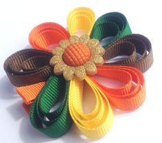 Items similar to Little Girls Ribbon Flower Sunflower Button Girls Hair Bows Loopy Bow Ribbon Sculpture Ribbon Stacked Thanksgiving Autumn on Etsy Ribbon Hair Bows, Diy Hair Bows, Diy Bow, Bow Hair Clips, Ribbon Flower, Fall Hair Colors, Ribbon Sculpture, Making Hair Bows, Diy Hair Accessories
