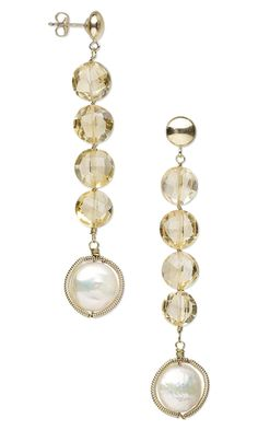 Earrings with Citrine Gemstone Beads, Cultured Freshwater Pearls and Wirework - Fire Mountain Gems and Beads