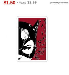 Total SALE Red Selina Vinyl Sticker Statement Sticker Batman Stickers, Unique Jewelry, Handmade Gifts, Red, Vintage, Etsy, Kid Craft Gifts, Craft Gifts, Costume Jewelry