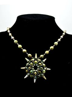 Necklace made of beads - spikes, fire polish, toho, miyuki