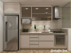 Cozinha pequena e cha. Basement Kitchen, Condo Kitchen, Modern Kitchen Cabinets, Apartment Kitchen, Home Decor Kitchen, Kitchen Interior, Home Interior Design, Home Kitchens, Kitchen Remodel