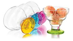 The clear construction of this Colors Dessert set from Libbey make a beautiful, clear presentation of your delicious desserts. Colored bases, each with a different fun, bright color, make this set of four dessert dishes perfect for summertime entertaining.   http://www.katom.com/634-3419S4Y4436.html