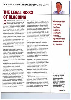 My Business: The legal risks of blogging  For further information please contact www.podlegal.com.au