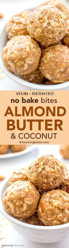 No Bake Almond Butter Coconut Bites (V+GF): Nutty, lightly sweet and satisfying energy bites made from just 6 simple ingredients. #Vegan #GlutenFree | http://BeamingBaker.com