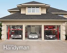 Dream Garage Tour: Five cars; three-car garage. See the rest of the garage design: http://www.familyhandyman.com/garage/dream-garage-double-decker-car-storage/view-all