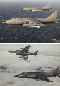 Two Sea Harrier FRS 1s, ZA176 and XZ451 both of 801 Naval Air Squadron. in flight during the Falklands conflict. 1982