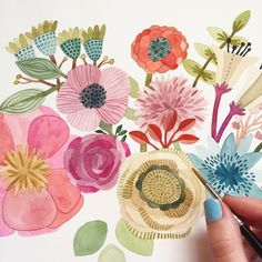 Working on a new floral painting this morning 🌸 Happy of July, folks! Watercolor Cards, Watercolor Flowers, Watercolor Paintings, Watercolors, Floral Illustrations, Illustration Art, Zentangle, Guache, Arte Popular