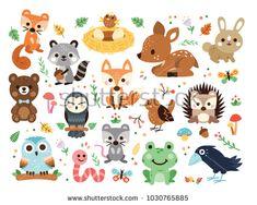 Vector woodland animals character, great for scrapbook, 15 cute and sweet animals. Acquista questo contenuto vettoriale su Shutterstock e trova altre immagini. Animals Vector, Scrapbook, Animal Throws, Owl Cartoon, Creative Icon, Illustrations, Woodland Animals, Forest Animals, Animal Design
