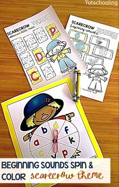 FREE printable Scarecrow spin game perfect for a Fall literacy center in kindergarten or preschool. Work on letter recognition and beginning sounds while making learning fun!