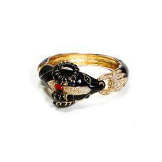 Ciner Ram Bracelet Black Enamel Rhinestones Jeweled Eyes  Majestic Figural Piece Signed Ciner Ram Bracelet is decorated with Gold Plated