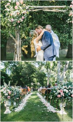 Romantic outdoor wedding ceremony, wooden arbor, pink and white floral arrangements, petals on the ground // Dear Stacey Wedding Photography