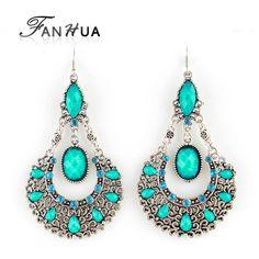83a06d36b0726 Brincos de jóias indiano do Vintage brincos de prata antigo cor prata liga  azul imitação de