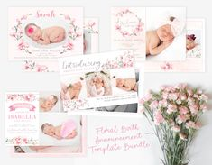 Girl Floral Birth Announcement Template Bundle - Girl Baby Announcement Pack - Newborn Template for Photoshop - Photographer Template Newborn Birth Announcements, Baby Boy Birth Announcement, Birth Announcement Template, Welcome Baby Girls, Photoshop For Photographers, Templates, Heart Designs, Floral, Baptism Invitations