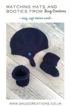 Looking for a beautifully soft and gentle coordinated outfit for your little one? These knitted merino booties and hat are available in all baby sizes and 33 gorgeous colours. Click through tot visit the shop