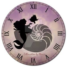 Ariel and Flounder Clock by SilhouettesbyMarie.deviantart.com on @DeviantArt