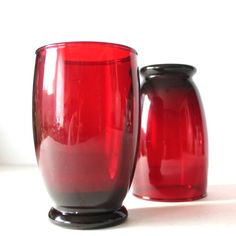 Vintage Ruby Red Glass Tumblers by Hallingtons on Etsy  My grandparents used to have glasses exactly like these… we always used them when making root beer floats. :)