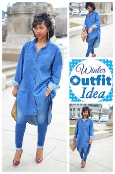 Denim on Denim, Hi-Low Top, Winter/Fall Outift Idea, Sweenee Style