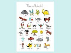 Texas Alphabet Print 12x16 by dianakimkaiser on Etsy, $25.00