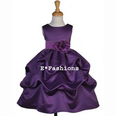 Plum  Wedding  Flower Girl Dress 6 9M 12 18M 2 3 4 5 6 6X ...