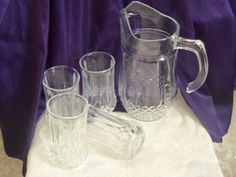 Cristal d'Arques Longchamp Pitcher + 4 Tumblers, Iced Tea, Lemonade Set of Five Clear Crystal, Diamond Pattern, Vintage Bar, Summer Serving by VisualaromasVintage on Etsy