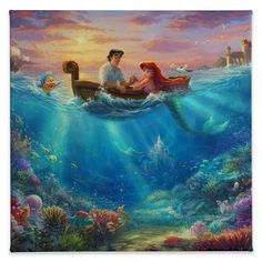 Little Mermaid Falling in Love, The – Limited Edition Art – Thomas Kinkade Galleries of New York, New Jersey & Connecticut Little Mermaid Falling in Love, The, Disney Thomas Kinkade Film Disney, Disney Movies, Disney Characters, Little Mermaid Painting, The Little Mermaid, Little Mermaid Wallpaper, Mermaid Paintings, Little Mermaid Bedroom, Mermaid Artwork