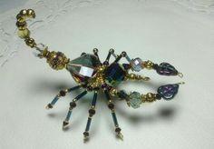 Insect Jewelry, Wire Jewelry, Beaded Jewelry, Jewelery, Beaded Ornament Covers, Beaded Ornaments, Beaded Spiders, Beaded Crafts, Beaded Animals