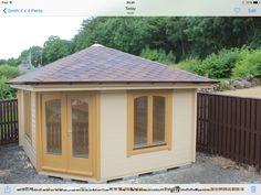 A 4m x 4m corner entry cabin in 58mm log, www.logcabinsscotland.co.uk