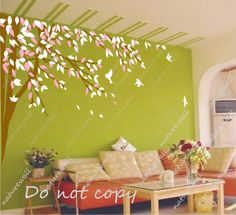 Tree wall decals Kids decals baby nursery room decor pink white nature girl wall decor wall art living room bedroom-lovely tree with birds. $58.00, via Etsy.
