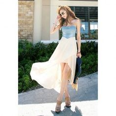 $10.69 Slim Fit Irregular Hem Denim Splicing Chiffon Strapless Dress For Women