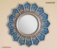 """Espejo de  Decoracion, """"Girasol Azul"""", Espejo decorativo redondo de vidrio pintado a mano - Decoracion para el hogar - decoracion salas,"""
