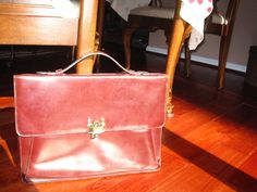 Vintage Etienne Aigner Burgundy Leather Attache Briefcase #EtienneAigner #Clutch