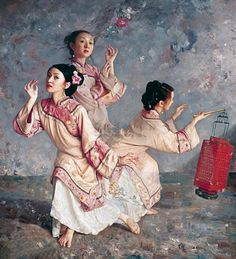 Chinese Traditional Maiden Oil Painting by Mingyue Wang http://www.interactchina.com/painting-art/