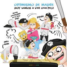 Optimismo de madre ¡Hoy vamos a ver una peli! Comics, Optimism, Bed Covers, Lets Go, Comic Books, Comic Book, Comic, Cartoons, Comic Art