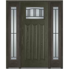 Milliken Millwork 68.5 in. x 81.75 in. Madison Decorative Glass 1/4 Lite Craftsman Finished Fiberglass Oak Exterior Door with Sidelites, New Ebony