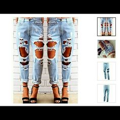 Boyfriend style denim Stylish Mid-Waisted Hole Design Jeans For Women Cheng Yang Jeans Boyfriend