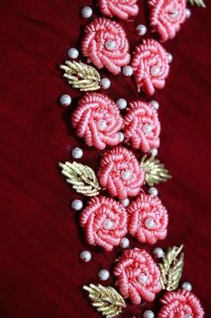 Hand Embroidery Patterns Hand embroidery designs for Neck design for dresses Zardozi Embroidery, Kurti Embroidery Design, Hand Embroidery Videos, Embroidery Flowers Pattern, Flower Embroidery Designs, Learn Embroidery, Hand Embroidery Stitches, Embroidery Fashion, Silk Ribbon Embroidery