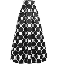 NINEWE Women's High Waisted A line Street Skirt Skater Pleated Full Maxi Skirt Blackpot * You can get additional details at the image link. Printed Maxi Skirts, Midi Skirts, Long Skirts, Pleated Skirt, Denim Skirt, Skater Skirt, Polka Dot Print, Polka Dots, White Long Sleeve