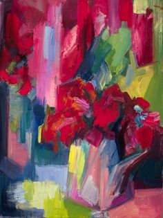 Red dahlias by Lena Levin, Painting - Oil | Zatista