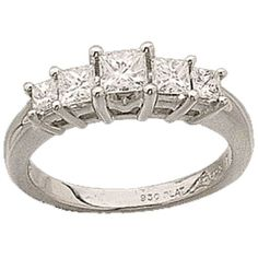 Platinum Princess Cut Diamonds Anniversary Ring